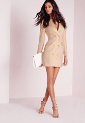 Missguided Long Sleeve Tuxedo Dress Nude
