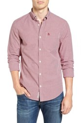 Original Penguin Extra Slim Fit Dobby Check Woven Shirt Red