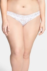 Hanky Panky 'Signature Lace Bride' Regular Rise Thong Plus Size White