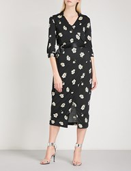 Moandco. Floral Print Woven Wrap Dress Pink And Black