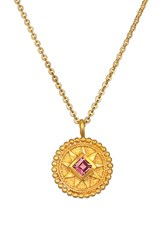 Women's Satya Jewelry 'Mandala' Birthstone Pendant Necklace October Pink Tourmaline