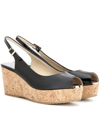 Jimmy Choo Praise Patent Leather Wedges Black