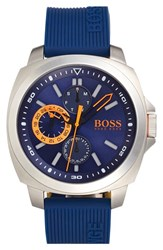 Boss Orange Men's 'Brisbane' Multifunction Slicone Strap Watch 49Mm