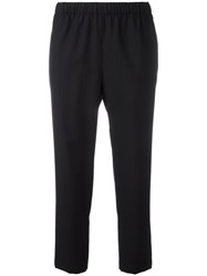 Comme Des Garcons Pinstriped Cropped Trousers Blue