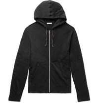 James Perse Loopback Supima Cotton Jersey Zip Up Hoodie Black