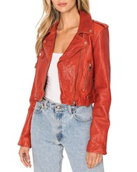 Lamarque Ciara Cropped Leather Moto Jacket Sienna