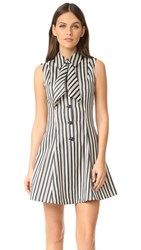 Mcq By Alexander Mcqueen Neck Tie Dress Striped Black White