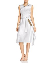 Lafayette 148 New York Nanette Stripe Shirt Dress 100 Bloomingdale's Exclusive Dill Multi