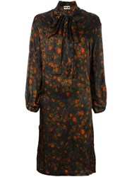 Hache Floral Print Dress Brown