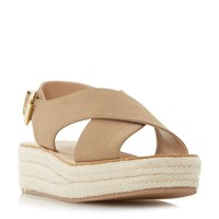 Head Over Heels Kimbly Cross Strap Flatform Sandals Taupe