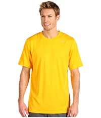 Nike Legend Dri Fit Poly S S Crew Top University Gold Dark Grey Heather Matte Silver Men's Short Sleeve Pullover Yellow