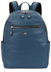 Vivienne Westwood Milano Blue Grained Leather Backpack