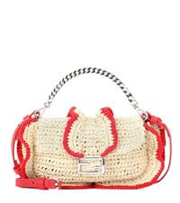 Fendi Micro Baguette Straw Crossbody Bag Beige