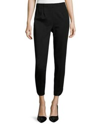 Ming Wang Faux Leather Crepe Cropped Pants Black