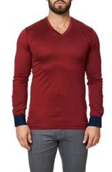 Maceoo Men's Long Sleeve V Neck Medium Red