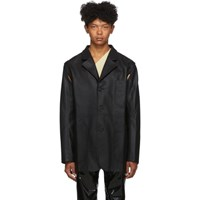 Telfar Black Faux Leather Detachable Jacket