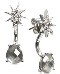 Lonna And Lilly Silver Tone Star Stone Front Back Back Earrings