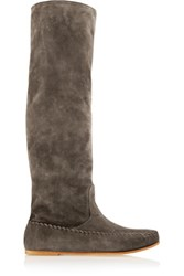 Tomas Maier Suede Knee Boots Dark Gray