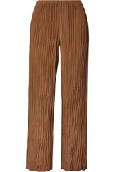 Vince Crinkled Crepe De Chine Straight Leg Pants Light Brown