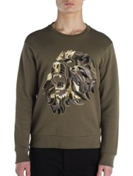 Palm Angels Embroidered Lion Sweatshirt Military Green