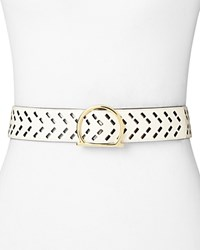 Salvatore Ferragamo Signature Gancio Perforated Leather Belt Panna White Gold