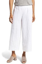 Eileen Fisher Women's Organic Linen Crop Wide Leg Pants White