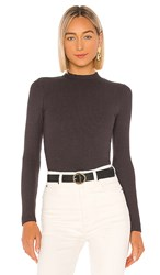 Monrow Rib Mock Neck Long Sleeve Top In Charcoal. Faded Black