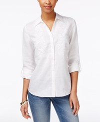 Charter Club Embroidered Beaded Linen Shirt Only At Macy's Bright White
