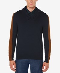 Perry Ellis Men's Jacquard Shawl Collar Sweater Dark Sapphire