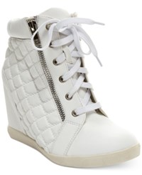 Madden Girl Madden Girl Baaxter Quilted High Top Wedge Sneakers Women's Shoes White