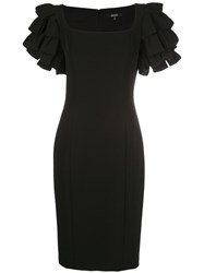 Badgley Mischka Ruffle Sleeve Fitted Dresss 60