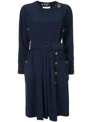 Chanel Vintage Belted Dress Blue