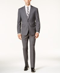 Vince Camuto Men's Slim Fit Gray Tonal Plaid Suit Grey