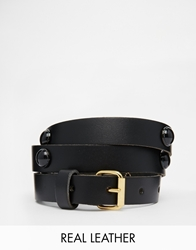 Black And Brown Slim Leather Waist Belt With Tonal Stone Ornaments