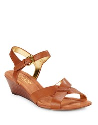 Lauren Ralph Lauren Laurissa Nappa Leather Wedge Sandals Brown