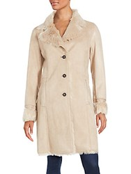 Badgley Mischka Long Sleeve Faux Fur Coat Camel