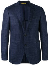 Canali Kei Blazer Jacket Men Silk Linen Flax Cupro Wool 52 Blue