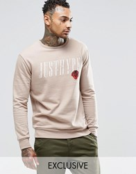 Hype Sweatshirt With Rose Logo Stone Beige