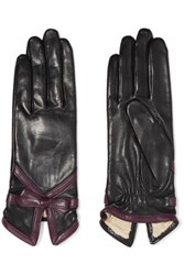 Agnelle Bow Embellished Leather Gloves Grape