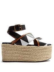 Marni Zigzag Applique Espadrille Flatform Sandals Black White
