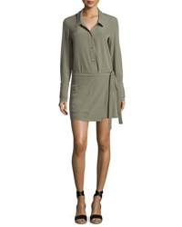 Halston Long Sleeve Faux Wrap Romper Green