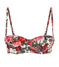 Dolce And Gabbana Rose Print Balconette Bikini Top Female Red