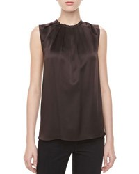 Michael Kors Charmeuse Tuck Neck Blouse Chocolate