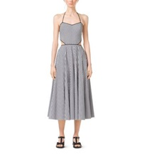 Michael Kors Striped Cotton Poplin Cutout Halter Dress Black White