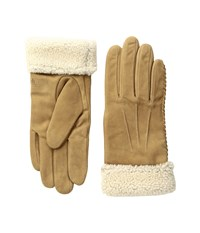 Lauren Ralph Lauren Suede Shearling Thinsulate Gloves Canyon Taupe Dress Gloves Beige