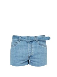Prada Belted Denim Shorts Light Blue