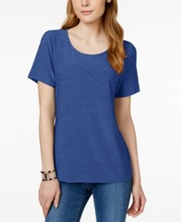 Jm Collection Short Sleeve Wave Texture Jacquard Top Only At Macy's Blue Steel