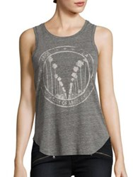 Paige Georgina Graphic Tank Top Heather Grey With White