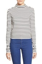 Leith Stripe Mock Neck Top Ivory Egret Stripe