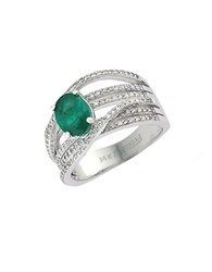 Effy Brasilica 14Kt. White Gold Emerald And Diamond Ring Emerald White Gold